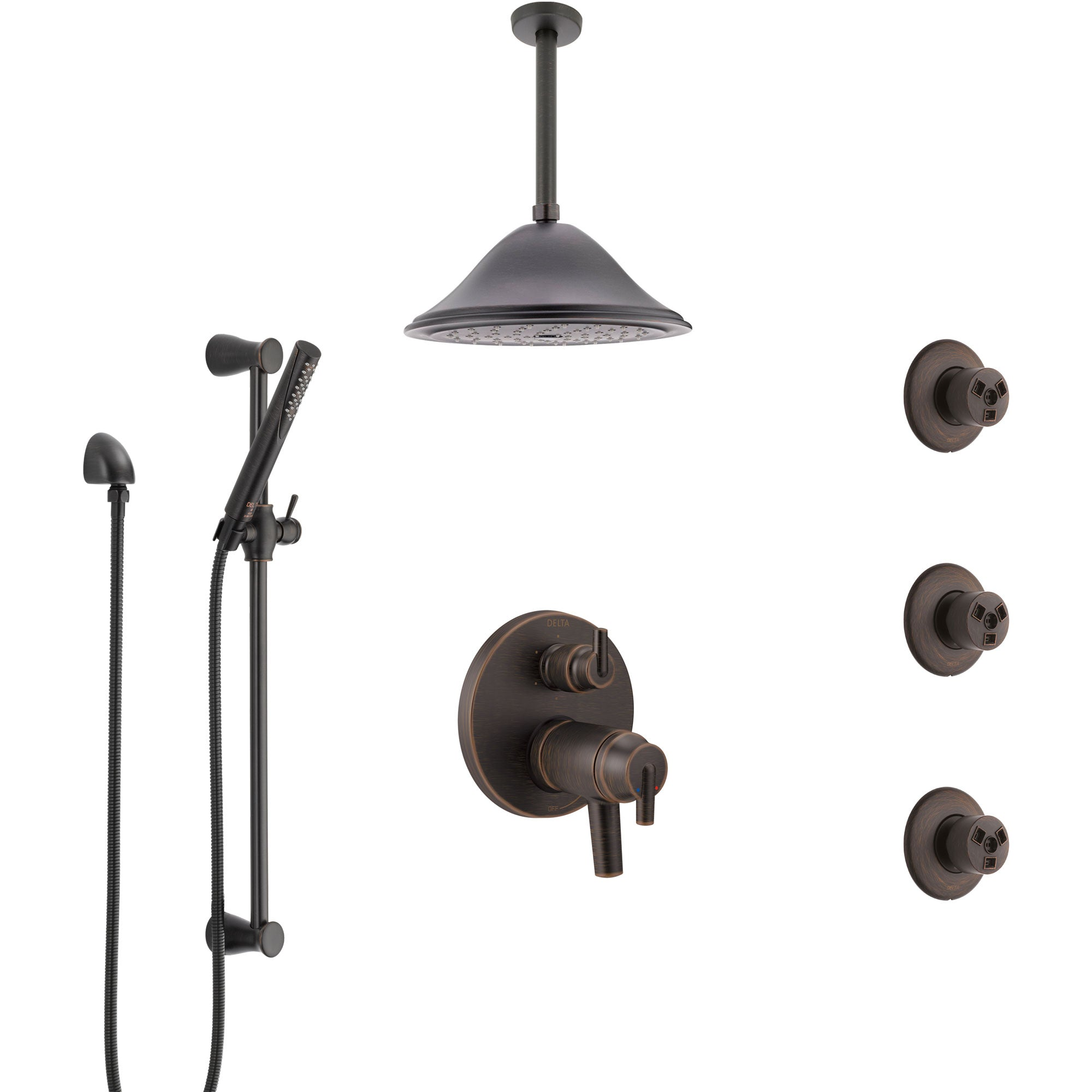 Delta Trinsic Venetian Bronze Dual Thermostatic Control Integrated Diverter Shower System, Ceiling Showerhead, 3 Body Sprays, Hand Spray SS27T959RB9