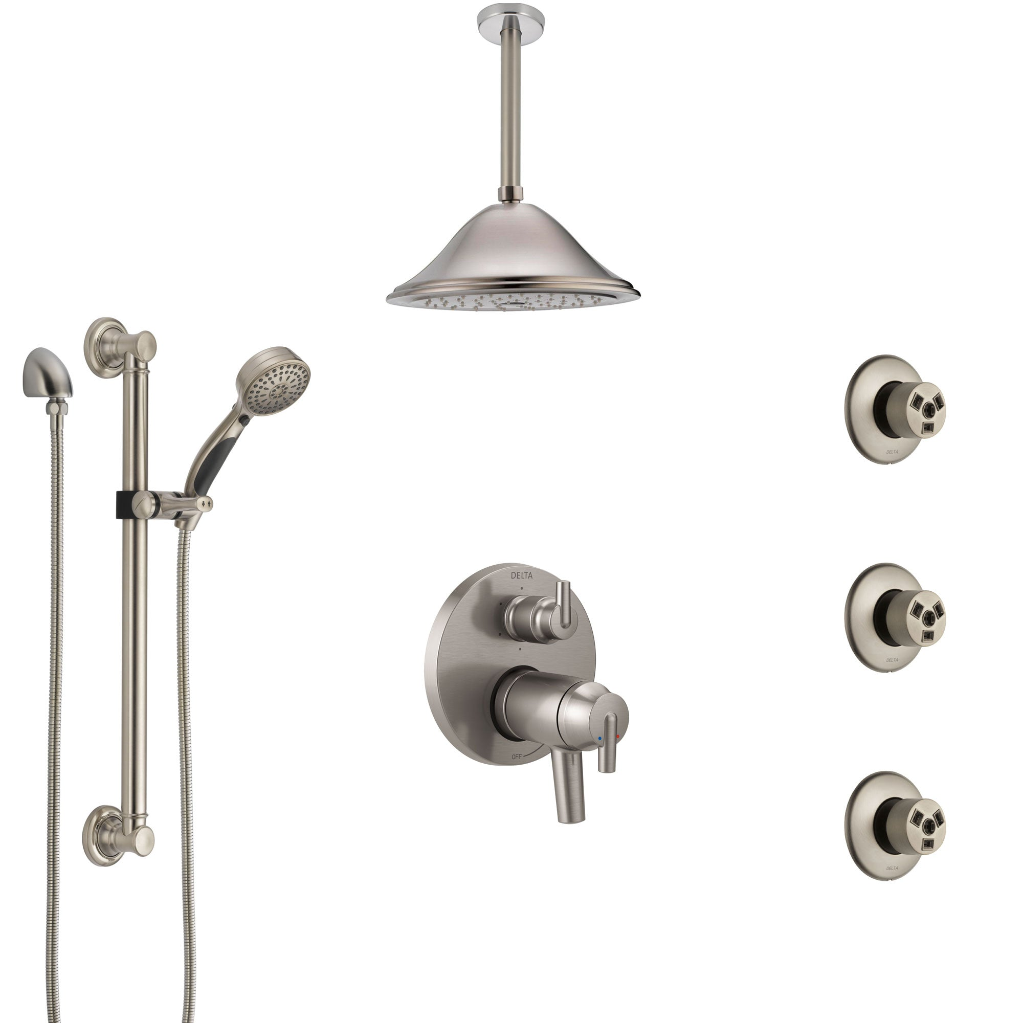 Delta Trinsic Dual Thermostatic Control Stainless Steel Finish Shower System, Ceiling Showerhead, 3 Body Jets, Grab Bar Hand Spray SS27T959SS4