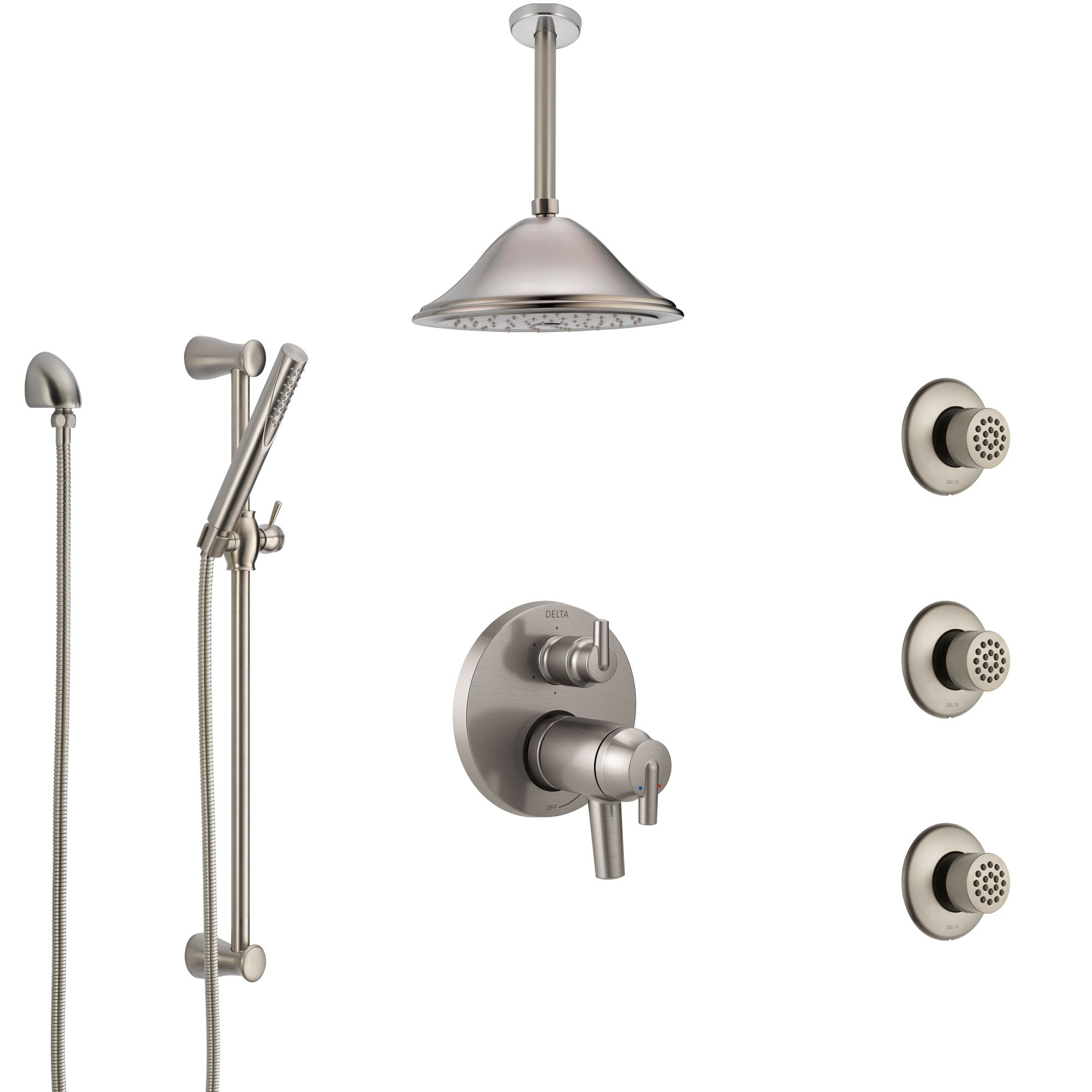 Delta Trinsic Dual Thermostatic Control Stainless Steel Finish Shower System, Ceiling Showerhead, 3 Body Jets, Hand Spray SS27T959SS6