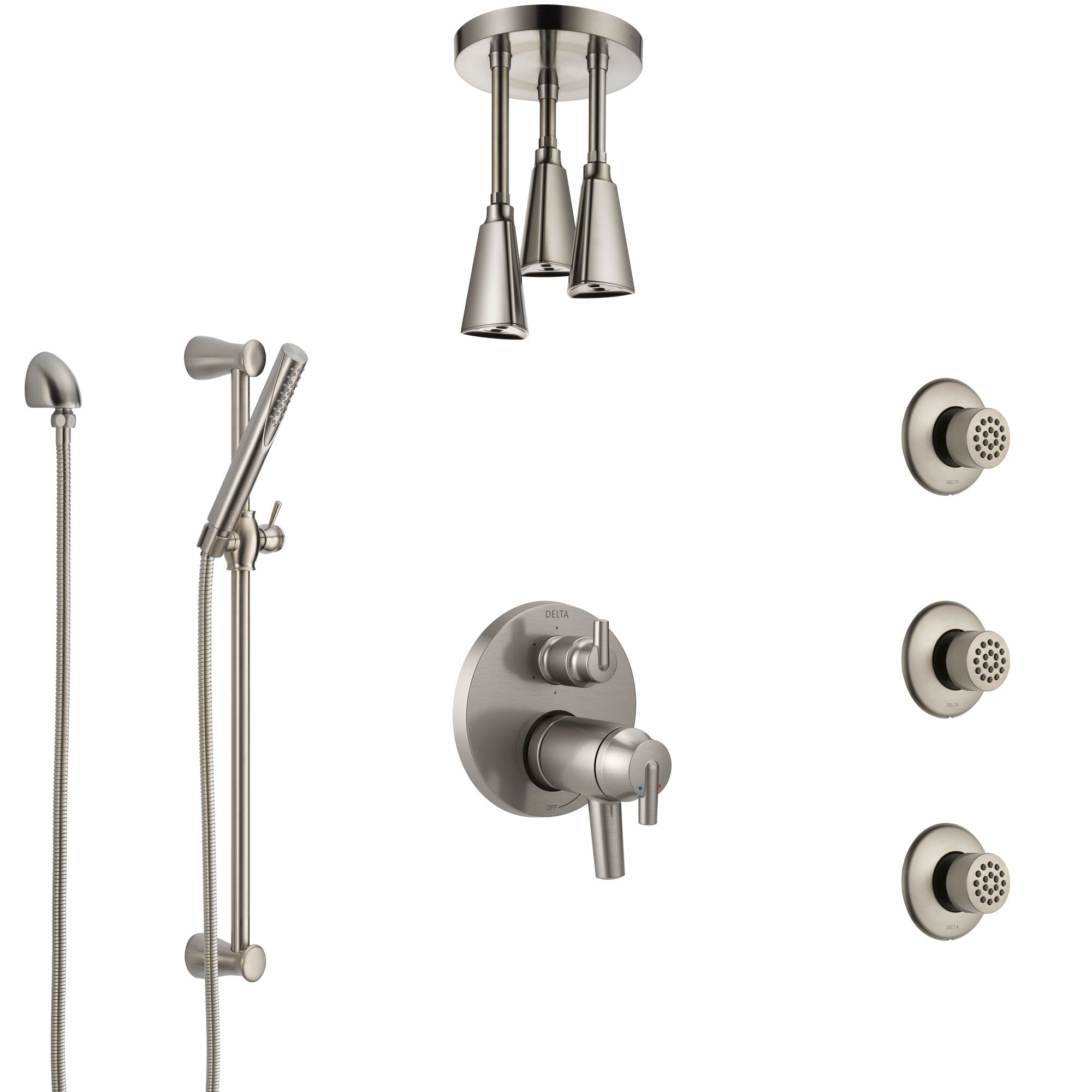 Delta Trinsic Dual Thermostatic Control Stainless Steel Finish Shower System, Ceiling Showerhead, 3 Body Jets, Hand Spray SS27T959SS7