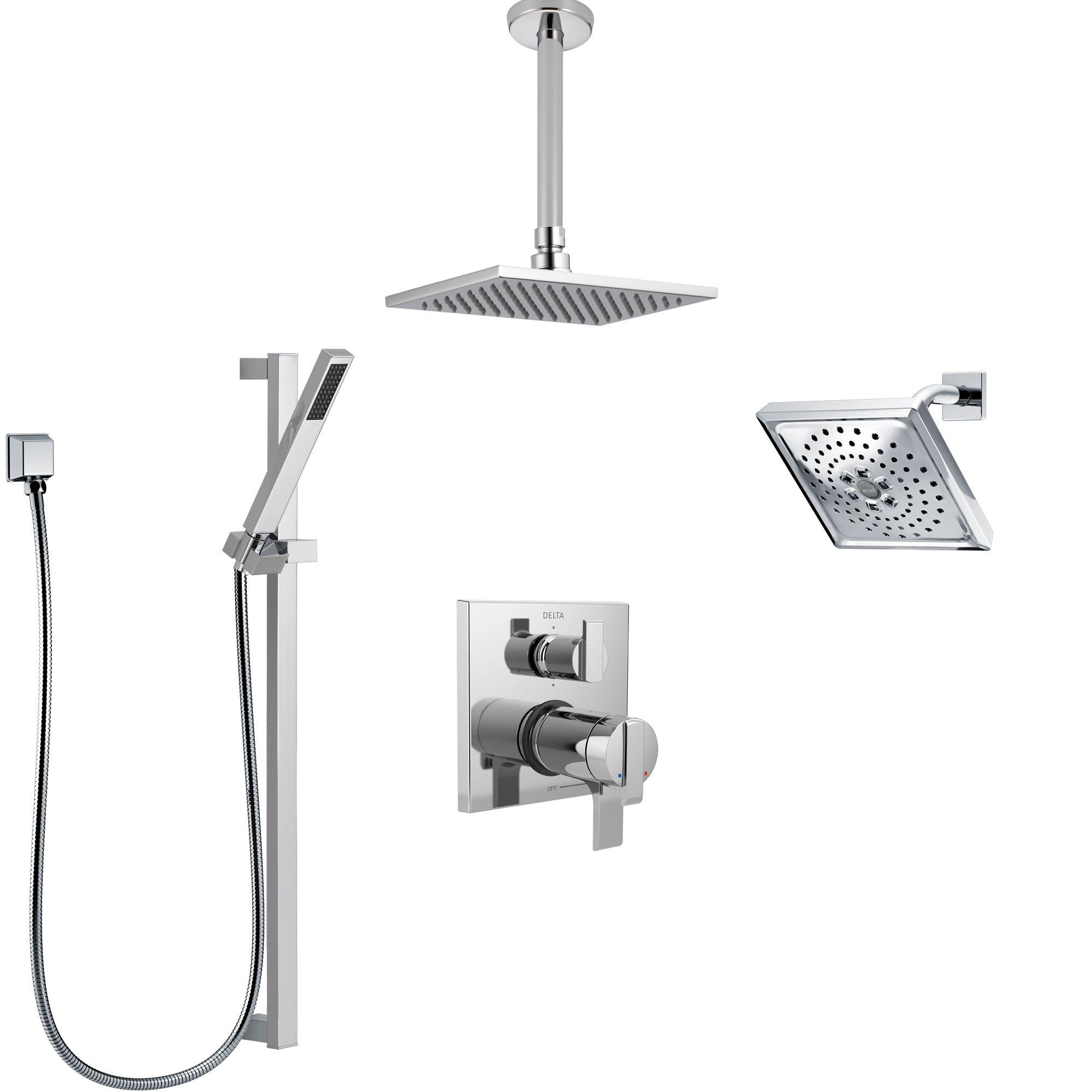 Delta Ara Chrome Shower System with Dual Thermostatic Control, Integrated Diverter, Showerhead, Ceiling Mount Showerhead, and Hand Shower SS27T96712