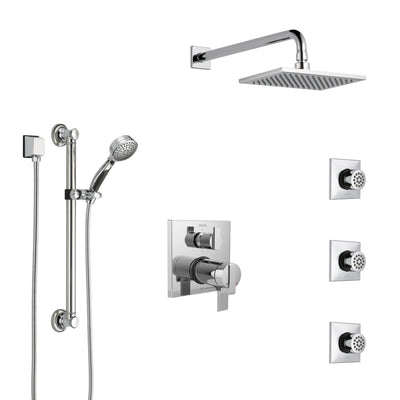 Delta Ara Chrome Shower System with Dual Thermostatic Control, Integrated Diverter, Showerhead, 3 Body Sprays, and Hand Shower with Grab Bar SS27T9672