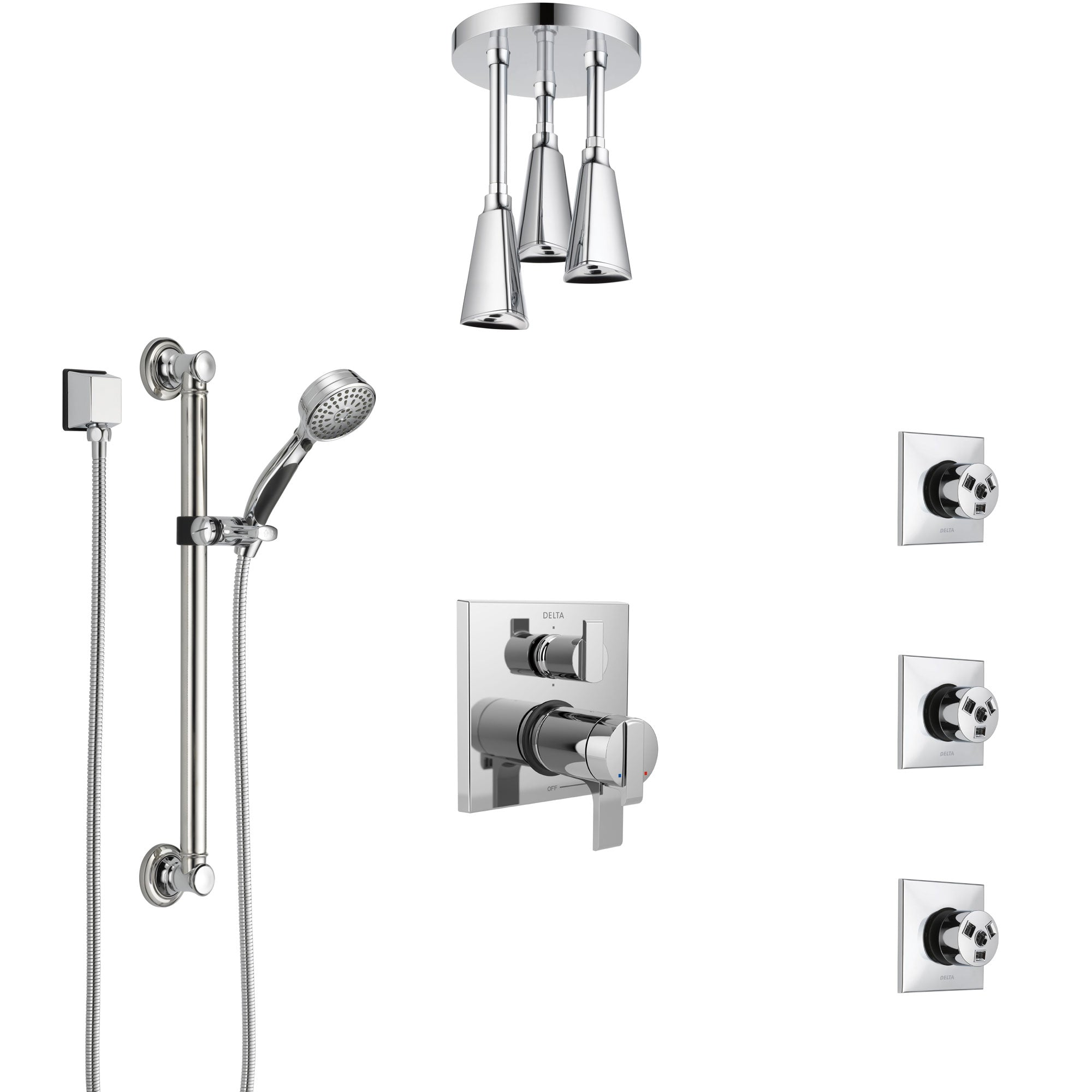 Delta Ara Chrome Dual Thermostatic Control Integrated Diverter Shower System, Ceiling Showerhead, 3 Body Sprays, and Grab Bar Hand Shower SS27T9675