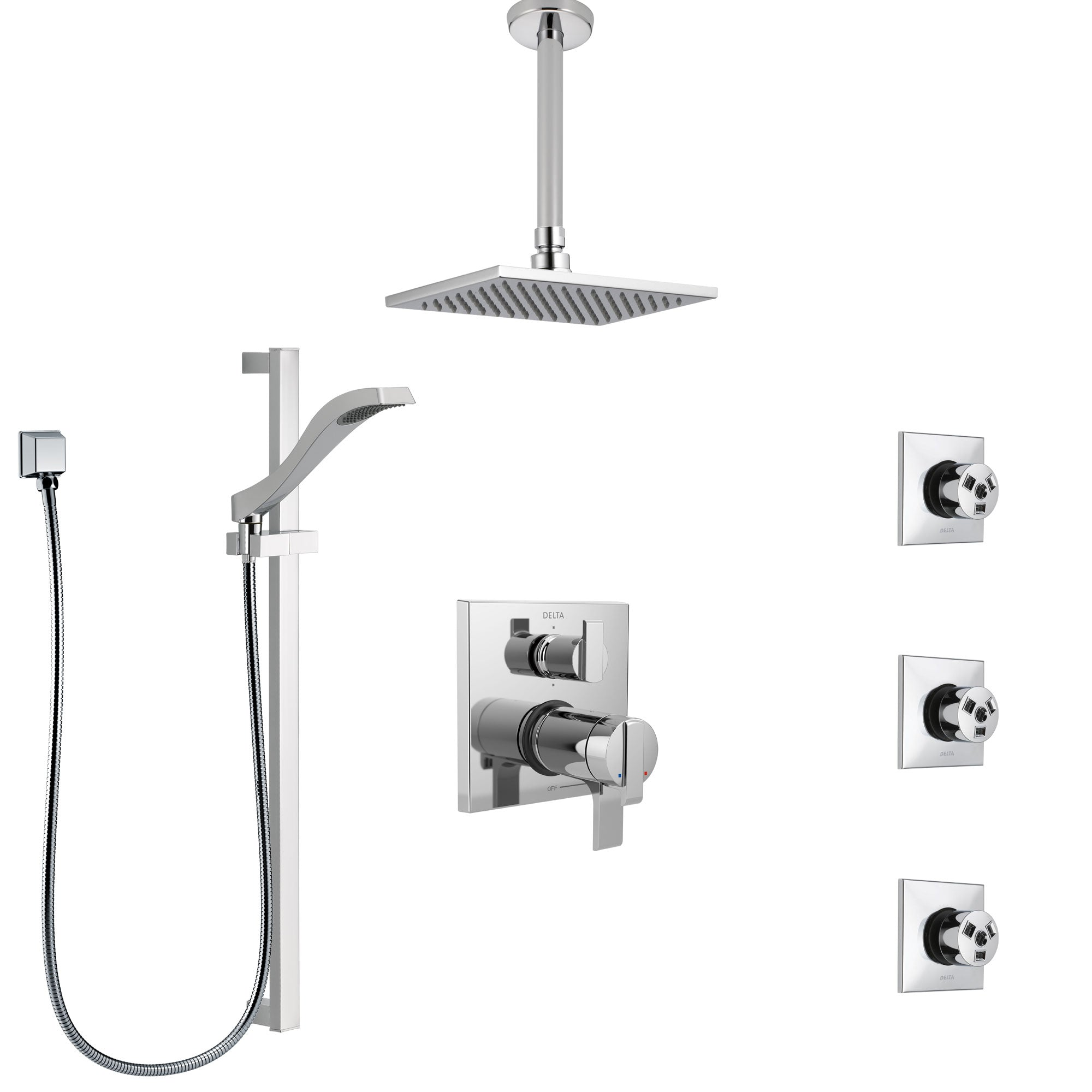 Delta Ara Chrome Shower System with Dual Thermostatic Control, Integrated Diverter, Ceiling Mount Showerhead, 3 Body Sprays, and Hand Shower SS27T9678