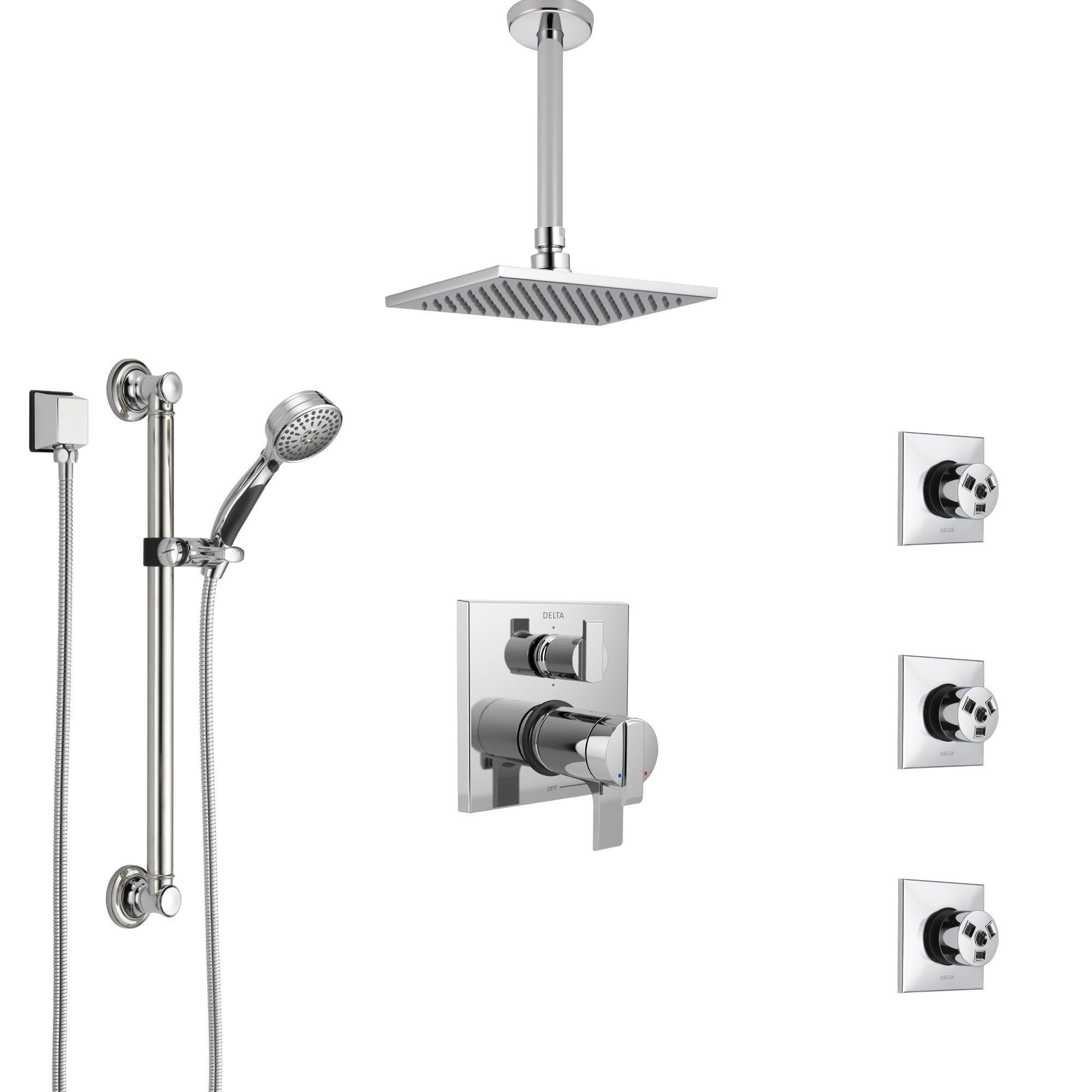Delta Ara Chrome Dual Thermostatic Control Integrated Diverter Shower System, Ceiling Showerhead, 3 Body Sprays, and Grab Bar Hand Shower SS27T9679