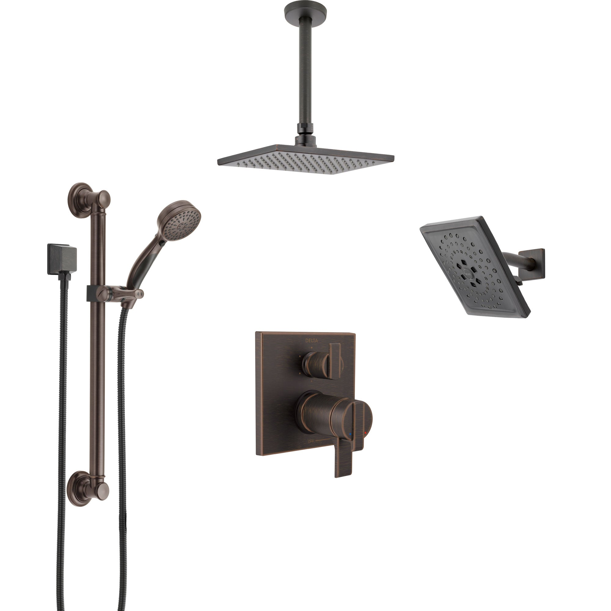 Delta Ara Venetian Bronze Dual Thermostatic Control Shower System, Showerhead, Ceiling Showerhead, Grab Bar Hand Spray SS27T967RB11