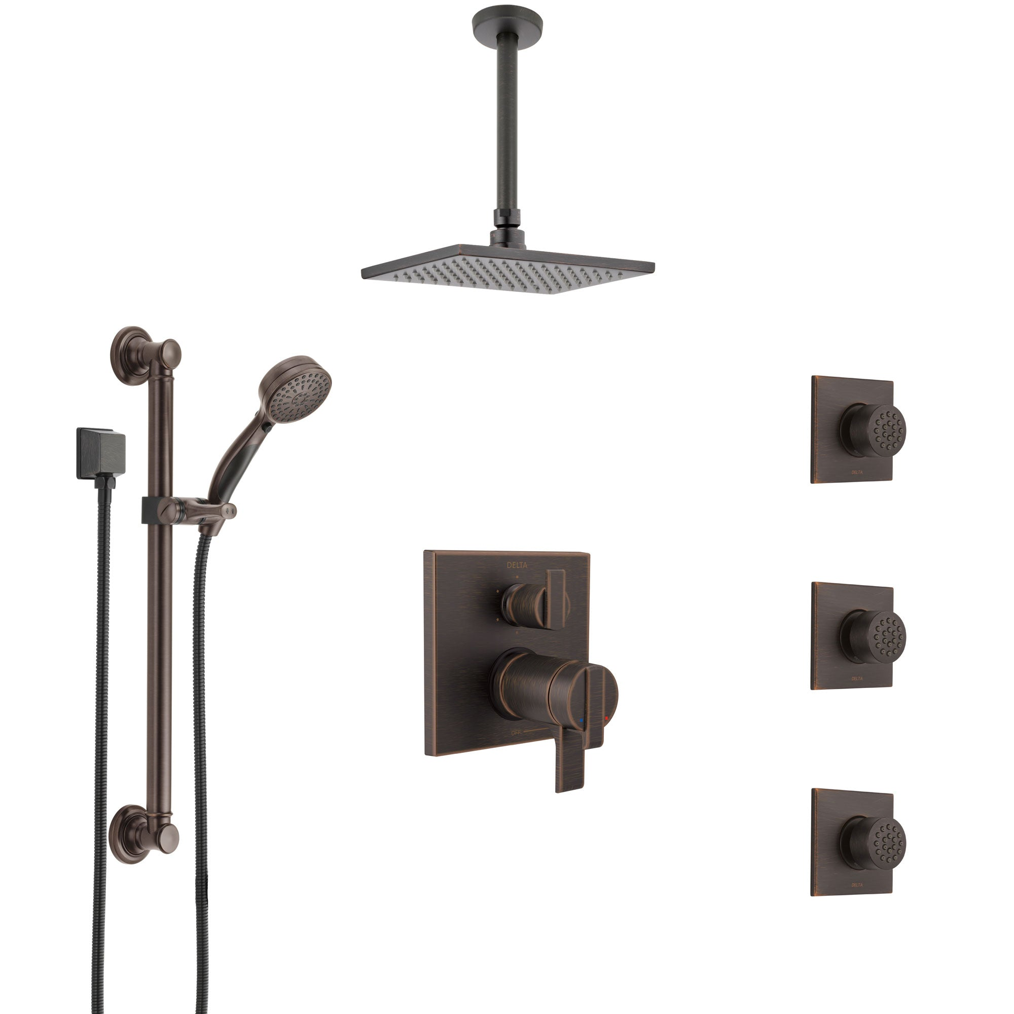 Delta Ara Venetian Bronze Dual Thermostatic Control Shower System, Ceiling Showerhead, 3 Body Jets, Grab Bar Hand Spray SS27T967RB2