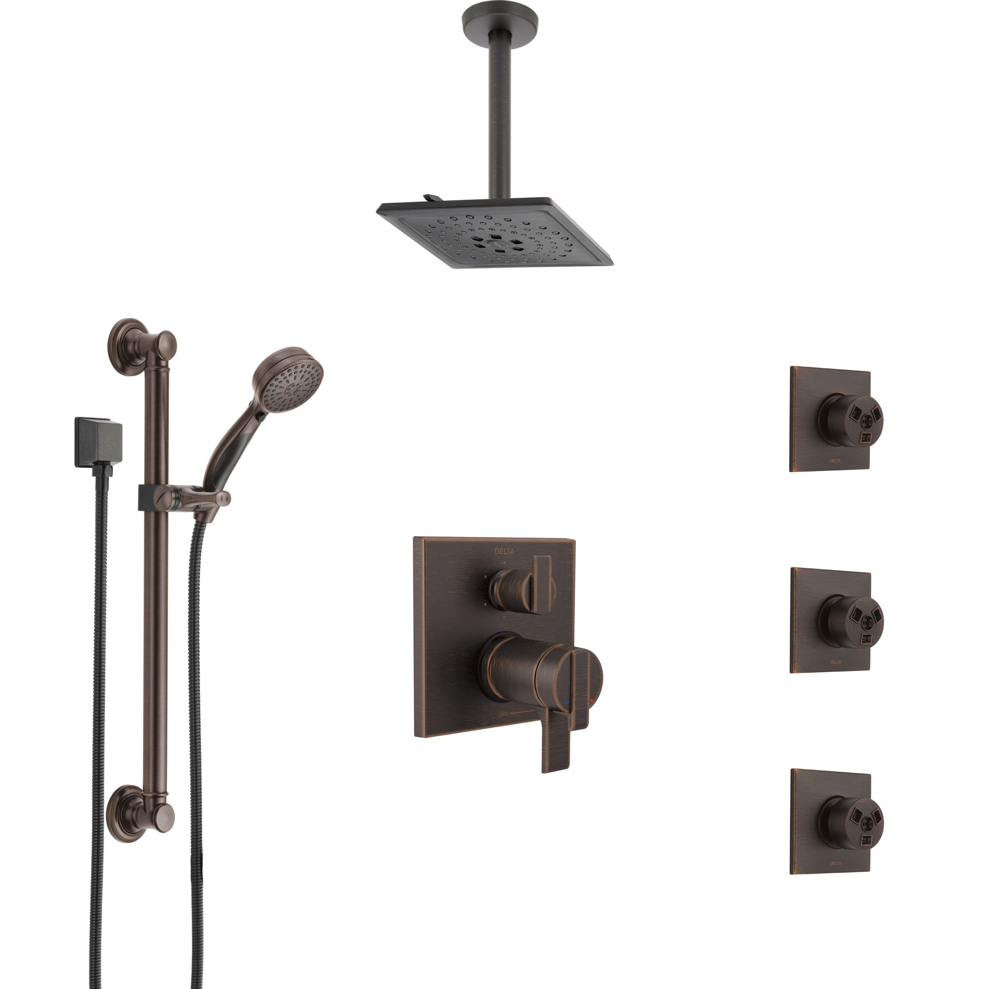 Delta Ara Venetian Bronze Dual Thermostatic Control Shower System, Ceiling Showerhead, 3 Body Jets, Grab Bar Hand Spray SS27T967RB4