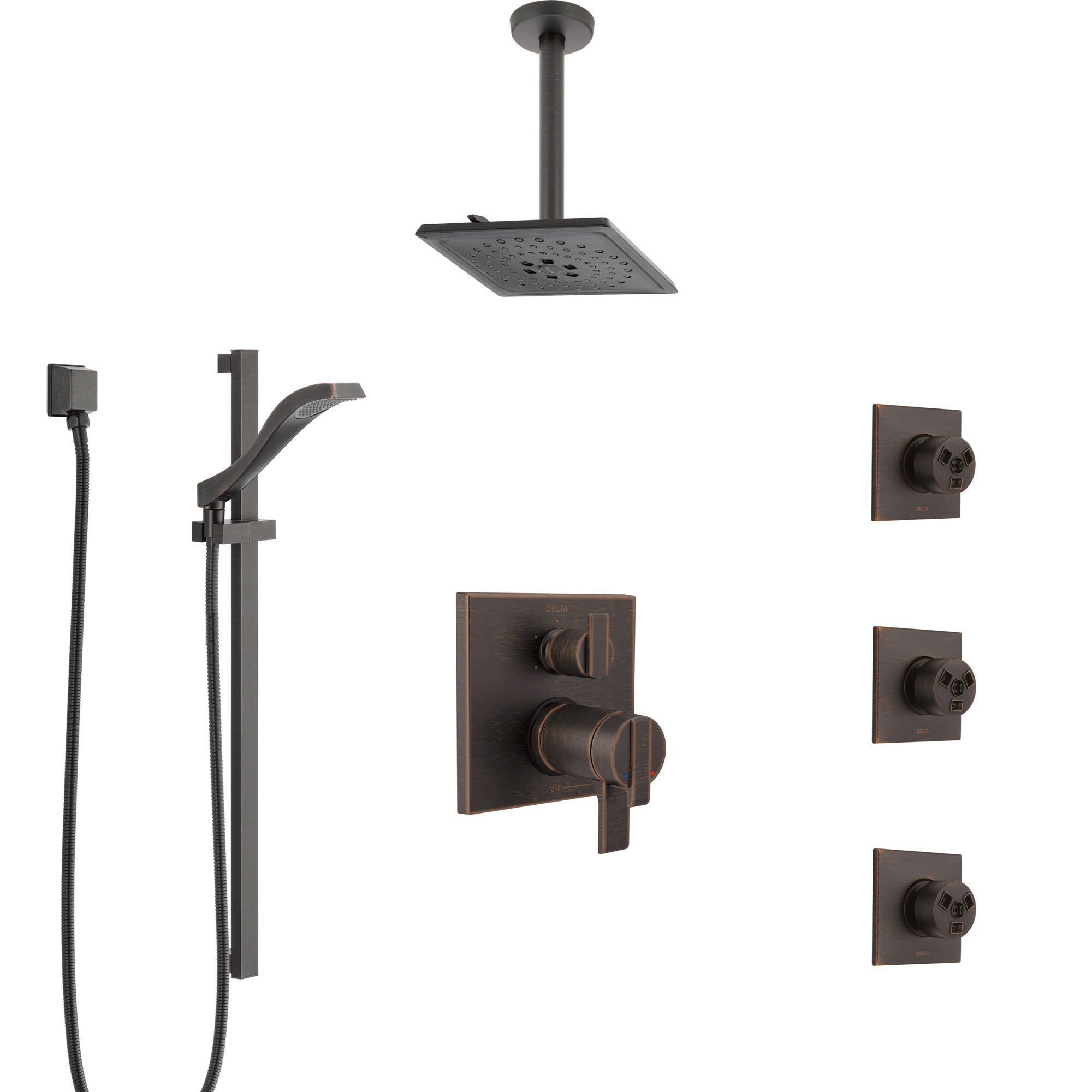 Delta Ara Venetian Bronze Dual Thermostatic Control Integrated Diverter Shower System, Ceiling Showerhead, 3 Body Sprays, and Hand Shower SS27T967RB5