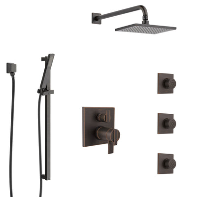 Delta Ara Venetian Bronze Shower System with Dual Thermostatic Control, Integrated Diverter, Showerhead, 3 Body Sprays, and Hand Shower SS27T967RB8