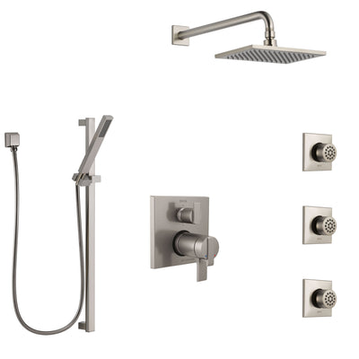 Delta Ara Dual Thermostatic Control Stainless Steel Finish Shower System, Integrated Diverter, Showerhead, 3 Body Sprays, and Hand Shower SS27T967SS12