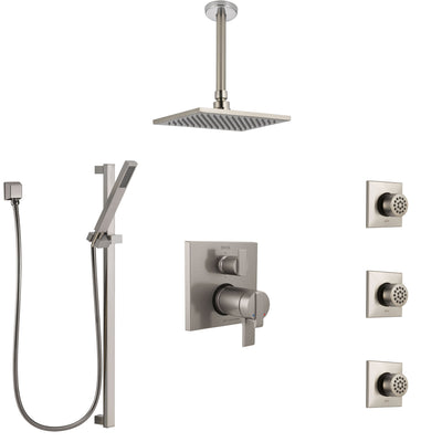 Delta Ara Dual Thermostatic Control Stainless Steel Finish Integrated Diverter Shower System, Ceiling Showerhead, 3 Body Jets, Hand Spray SS27T967SS3