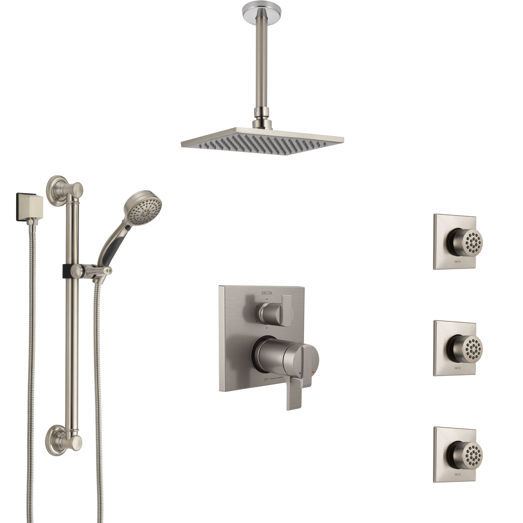 Delta Ara Dual Thermostatic Control Stainless Steel Finish Shower System, Ceiling Showerhead, 3 Body Jets, Grab Bar Hand Spray SS27T967SS4