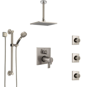 Shower Systems with Ceiling Mount Showerhead, Body Spray Jets, and Hand Shower