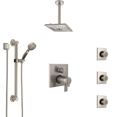 Delta Ara Dual Thermostatic Control Stainless Steel Finish Shower System, Ceiling Showerhead, 3 Body Jets, Grab Bar Hand Spray SS27T967SS5