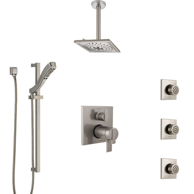 Delta Ara Dual Thermostatic Control Stainless Steel Finish Integrated Diverter Shower System, Ceiling Showerhead, 3 Body Jets, Hand Spray SS27T967SS6
