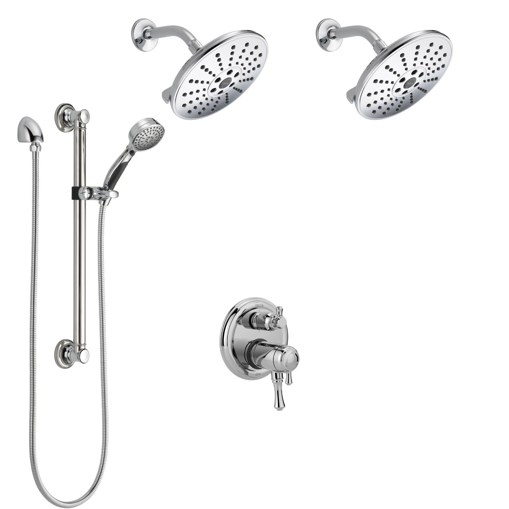Delta Cassidy Chrome Shower System with Dual Thermostatic Control, Integrated Diverter, 2 Showerheads, and Hand Shower with Grab Bar SS27T99712