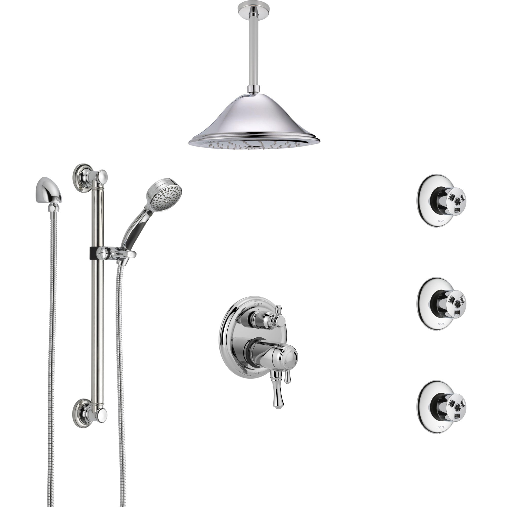 Delta Cassidy Chrome Dual Thermostatic Control Integrated Diverter Shower System, Ceiling Showerhead, 3 Body Sprays, and Grab Bar Hand Spray SS27T9974