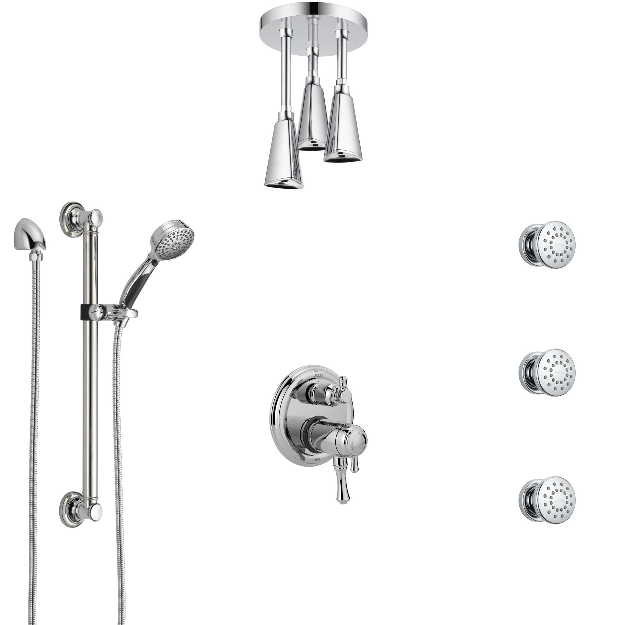 Delta Cassidy Chrome Dual Thermostatic Control Integrated Diverter Shower System, Ceiling Showerhead, 3 Body Sprays, and Grab Bar Hand Spray SS27T9976