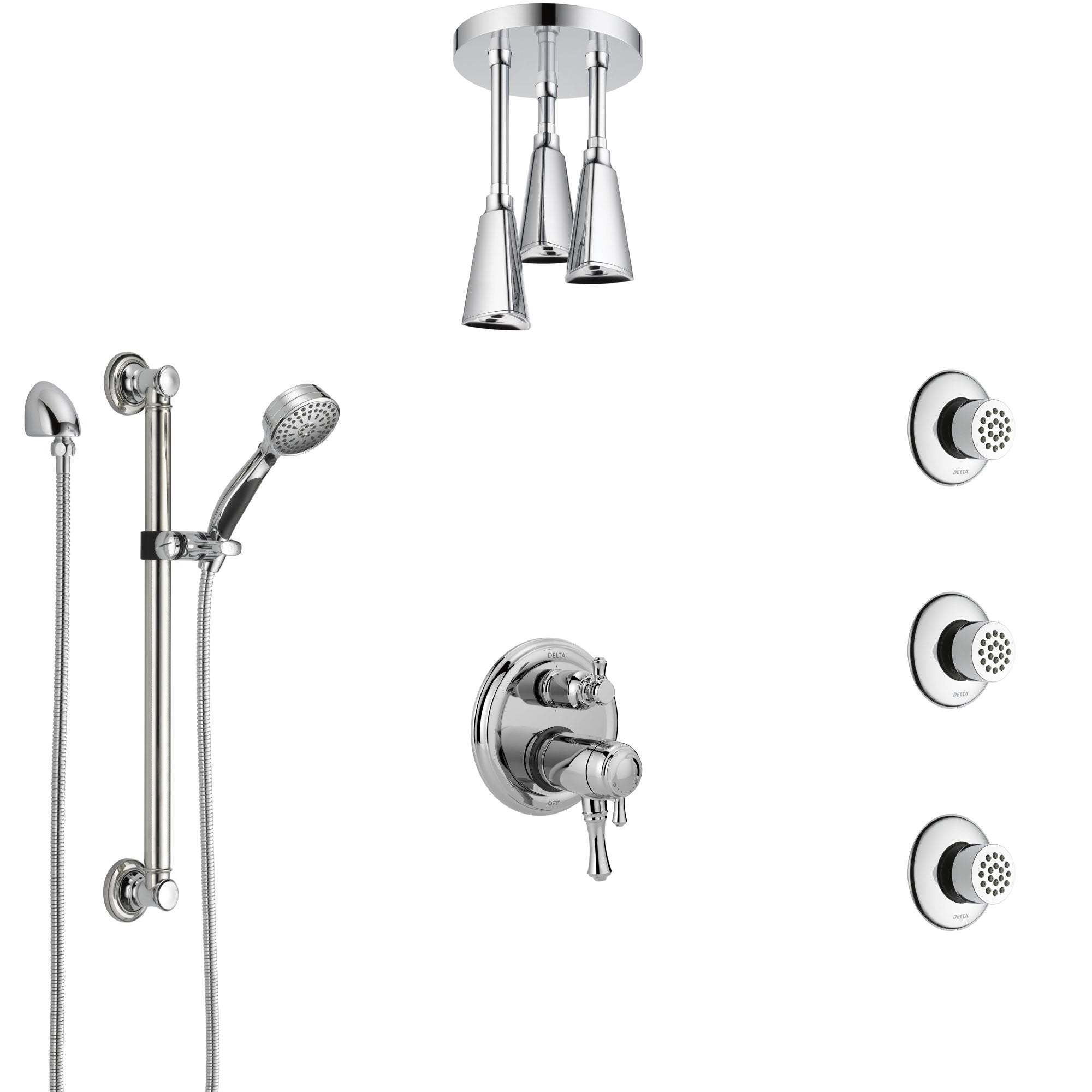Delta Cassidy Chrome Dual Thermostatic Control Integrated Diverter Shower System, Ceiling Showerhead, 3 Body Sprays, and Grab Bar Hand Spray SS27T9977
