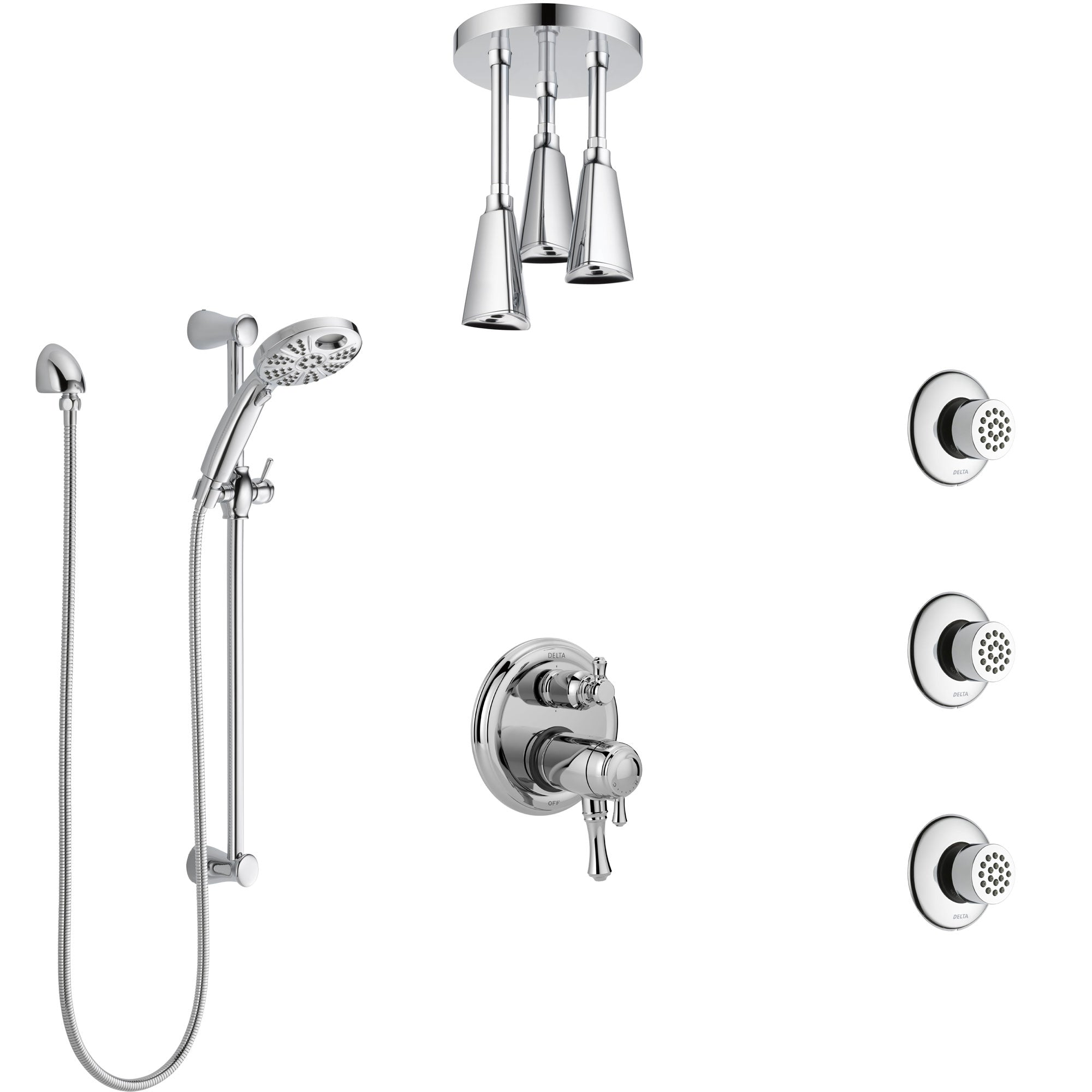 Delta Cassidy Chrome Dual Thermostatic Control Shower System, Integrated Diverter, Ceiling Showerhead, 3 Body Sprays, and Temp2O Hand Shower SS27T9978