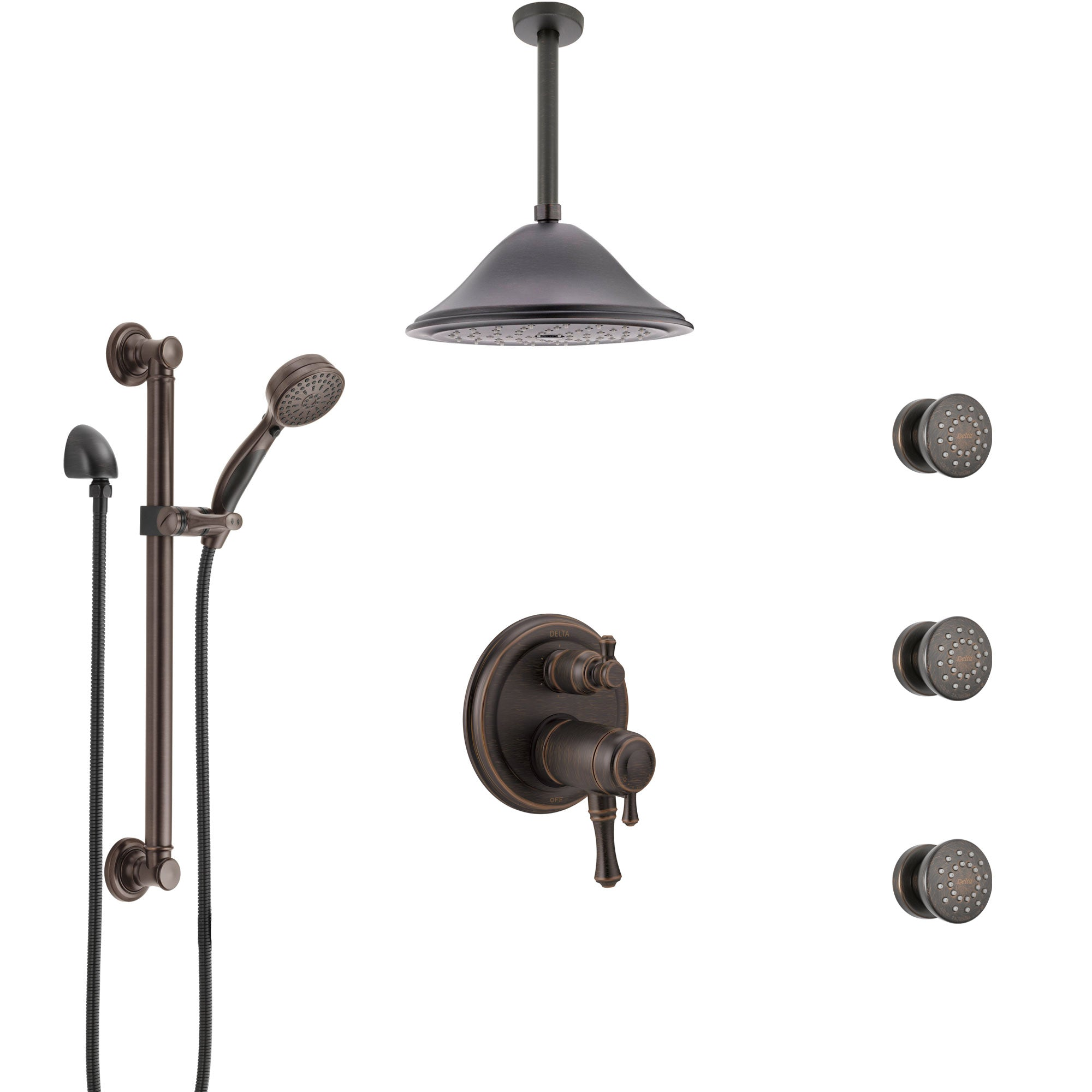 Delta Cassidy Venetian Bronze Dual Thermostatic Control Shower System, Ceiling Showerhead, 3 Body Jets, Grab Bar Hand Spray SS27T997RB10
