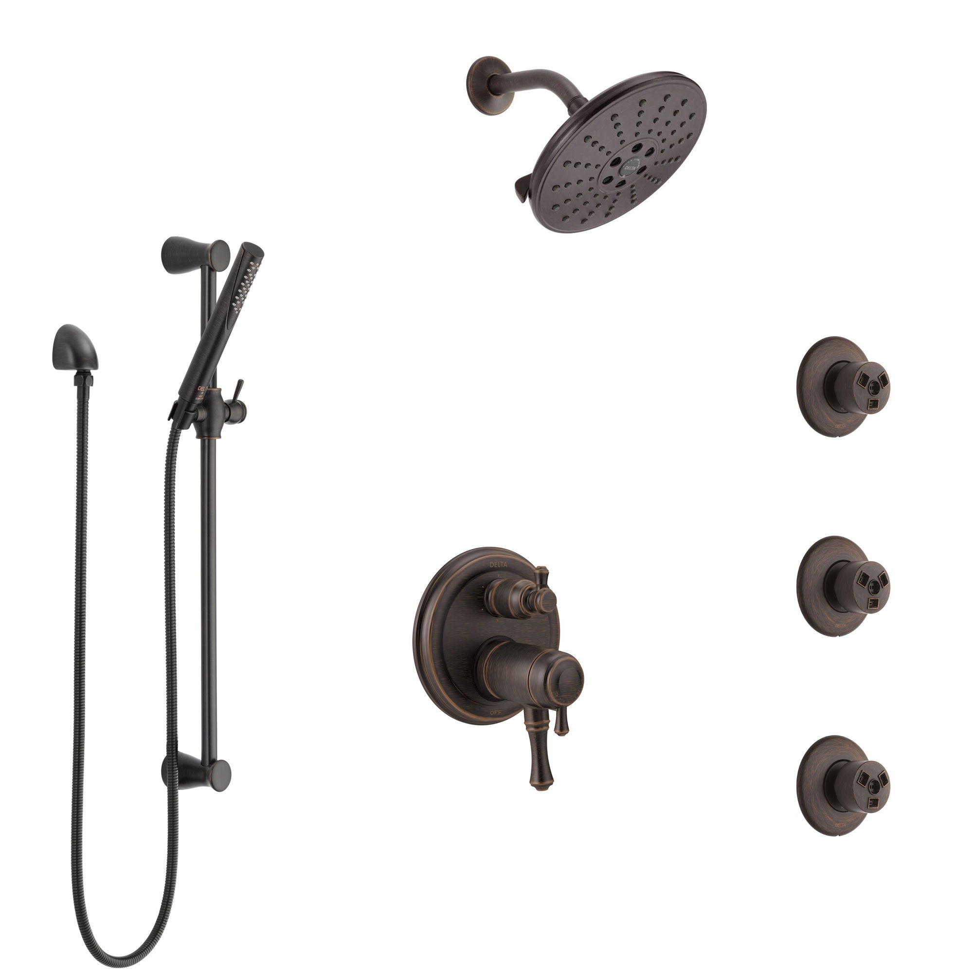 Delta Cassidy Venetian Bronze Dual Thermostatic Control Integrated Diverter Shower System, Showerhead, 3 Body Sprays, and Hand Shower SS27T997RB12
