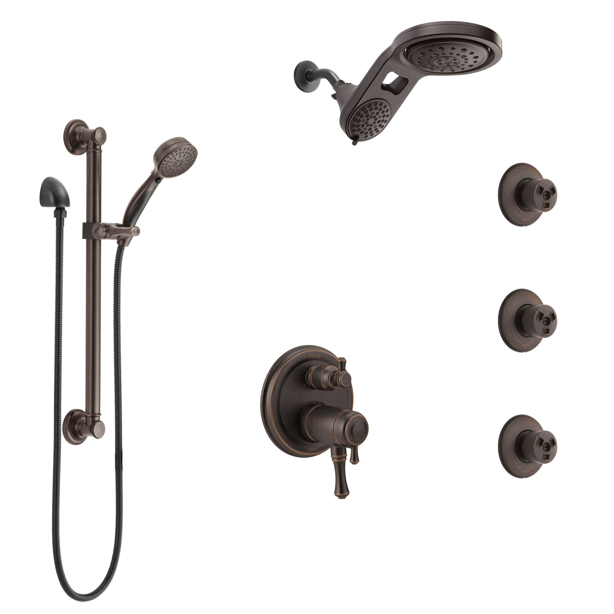 Delta Cassidy Venetian Bronze Dual Thermostatic Control Shower System, Dual Showerhead, 3 Body Jets, Grab Bar Hand Spray SS27T997RB4