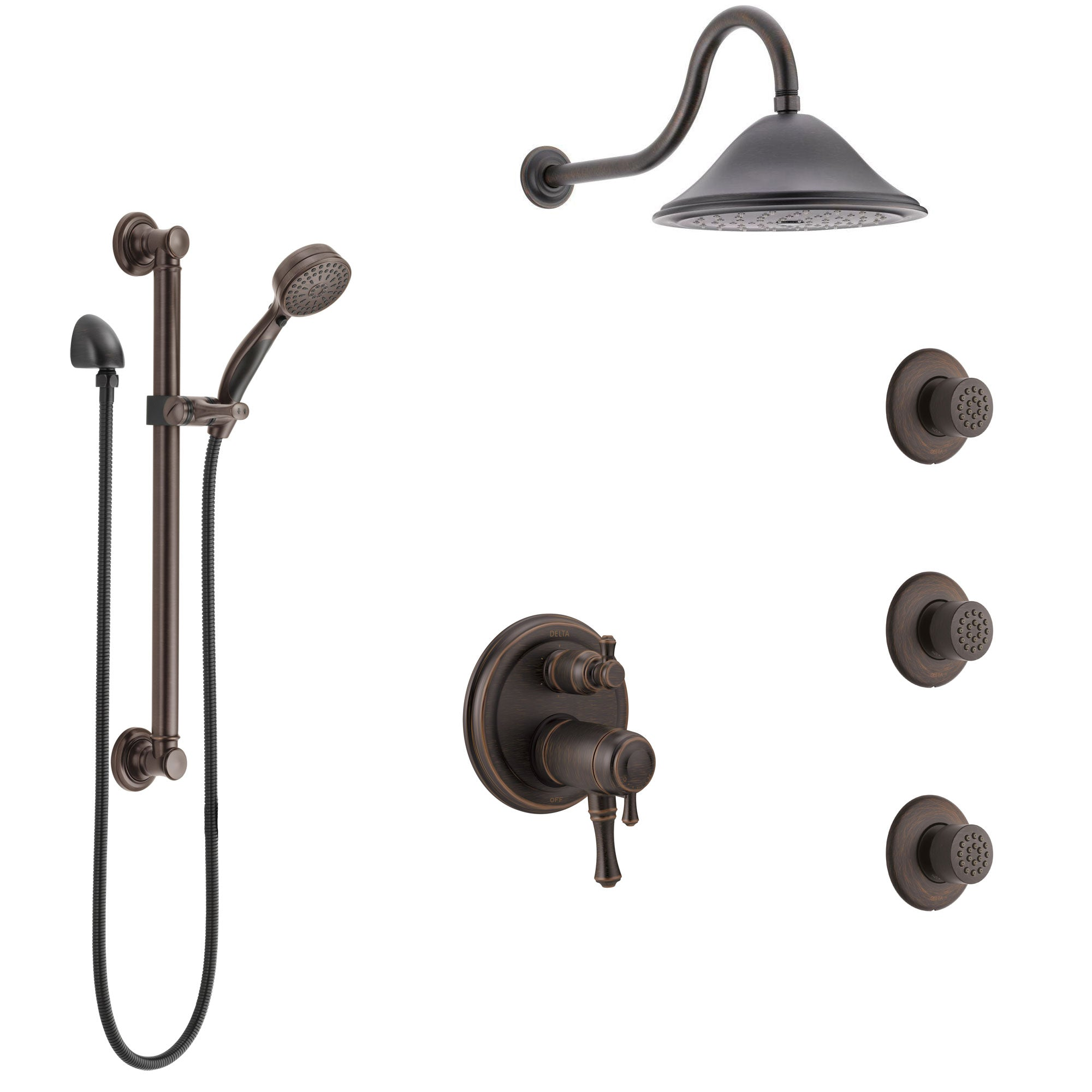 Delta Cassidy Venetian Bronze Dual Thermostatic Control Integrated Diverter Shower System, Showerhead, 3 Body Sprays, Grab Bar Hand Spray SS27T997RB5