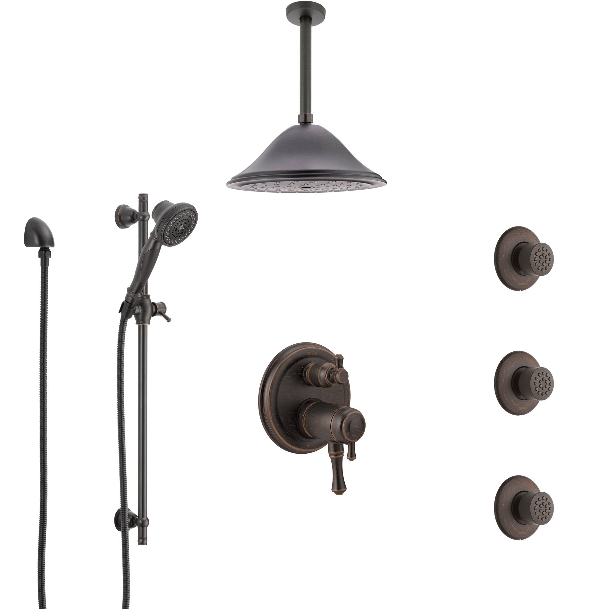 Delta Cassidy Venetian Bronze Dual Thermostatic Control Integrated Diverter Shower System, Ceiling Showerhead, 3 Body Sprays, Hand Spray SS27T997RB7