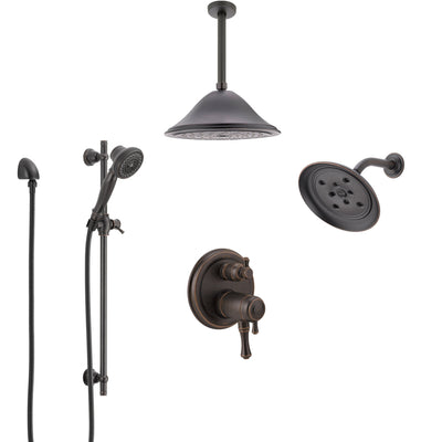 Delta Cassidy Venetian Bronze Dual Thermostatic Control Integrated Diverter Shower System, Showerhead, Ceiling Showerhead, and Hand Shower SS27T997RB8