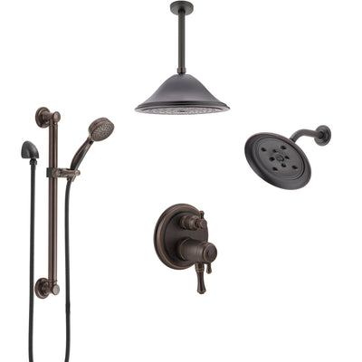 Delta Cassidy Venetian Bronze Dual Thermostatic Control Shower System, Showerhead, Ceiling Showerhead, Grab Bar Hand Spray SS27T997RB9