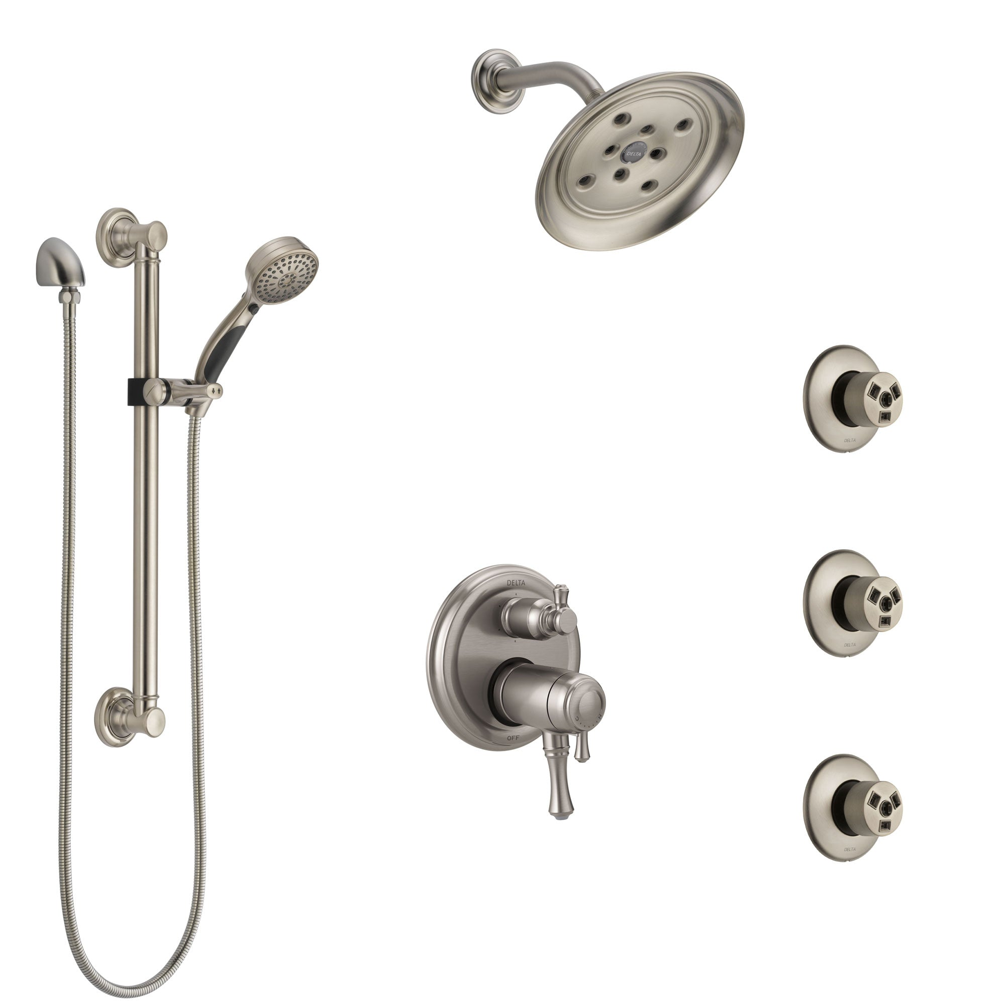 Delta Cassidy Dual Thermostatic Control Stainless Steel Finish Shower System, Showerhead, 3 Body Jets, Grab Bar Hand Spray SS27T997SS11