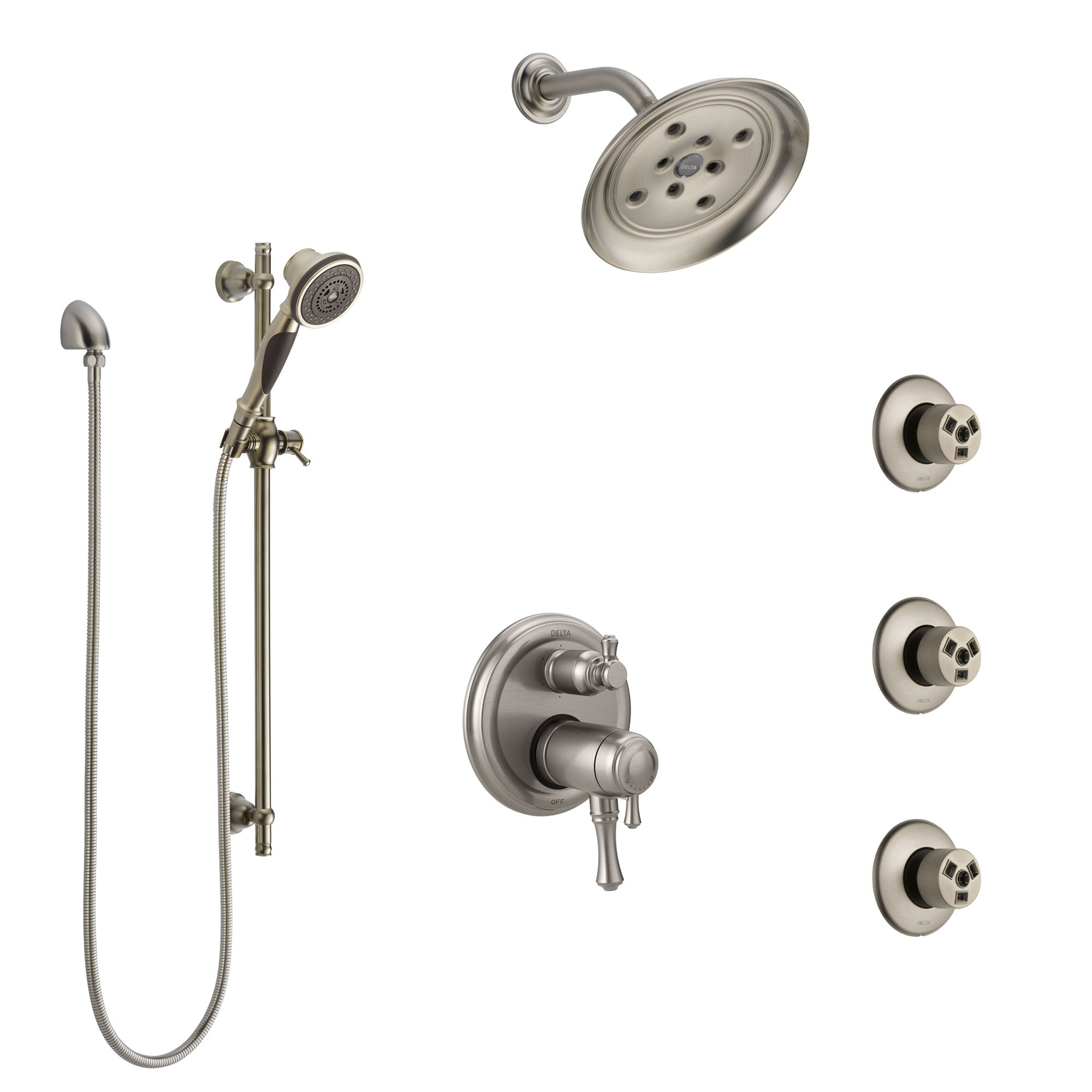 Delta Cassidy Dual Thermostatic Control Stainless Steel Finish Integrated Diverter Shower System, Showerhead, 3 Body Sprays, Hand Spray SS27T997SS12