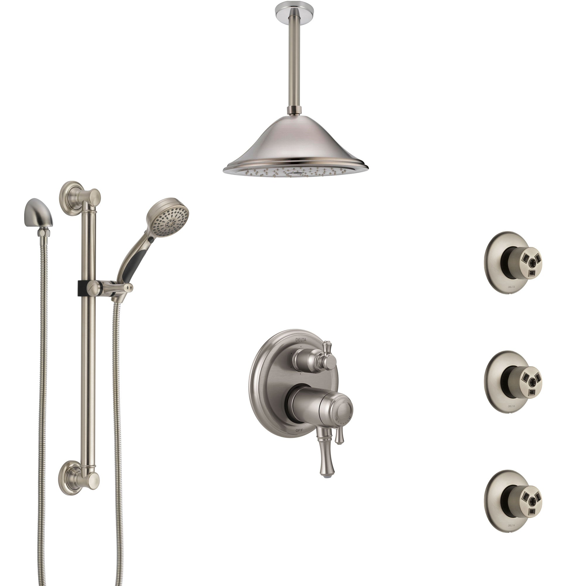 Delta Cassidy Dual Thermostatic Control Stainless Steel Finish Shower System, Ceiling Showerhead, 3 Body Jets, Grab Bar Hand Spray SS27T997SS3