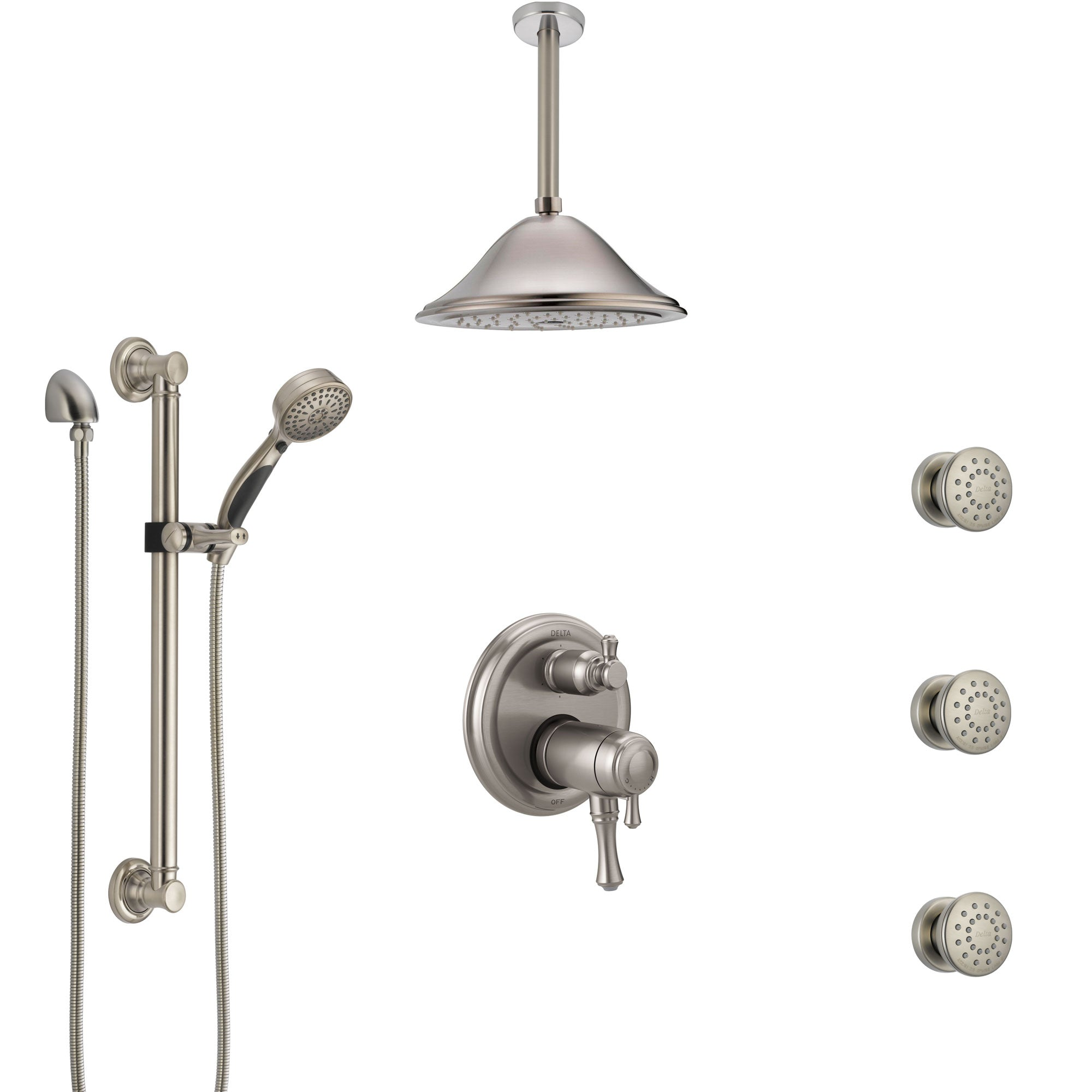 Delta Cassidy Dual Thermostatic Control Stainless Steel Finish Shower System, Ceiling Showerhead, 3 Body Jets, Grab Bar Hand Spray SS27T997SS4
