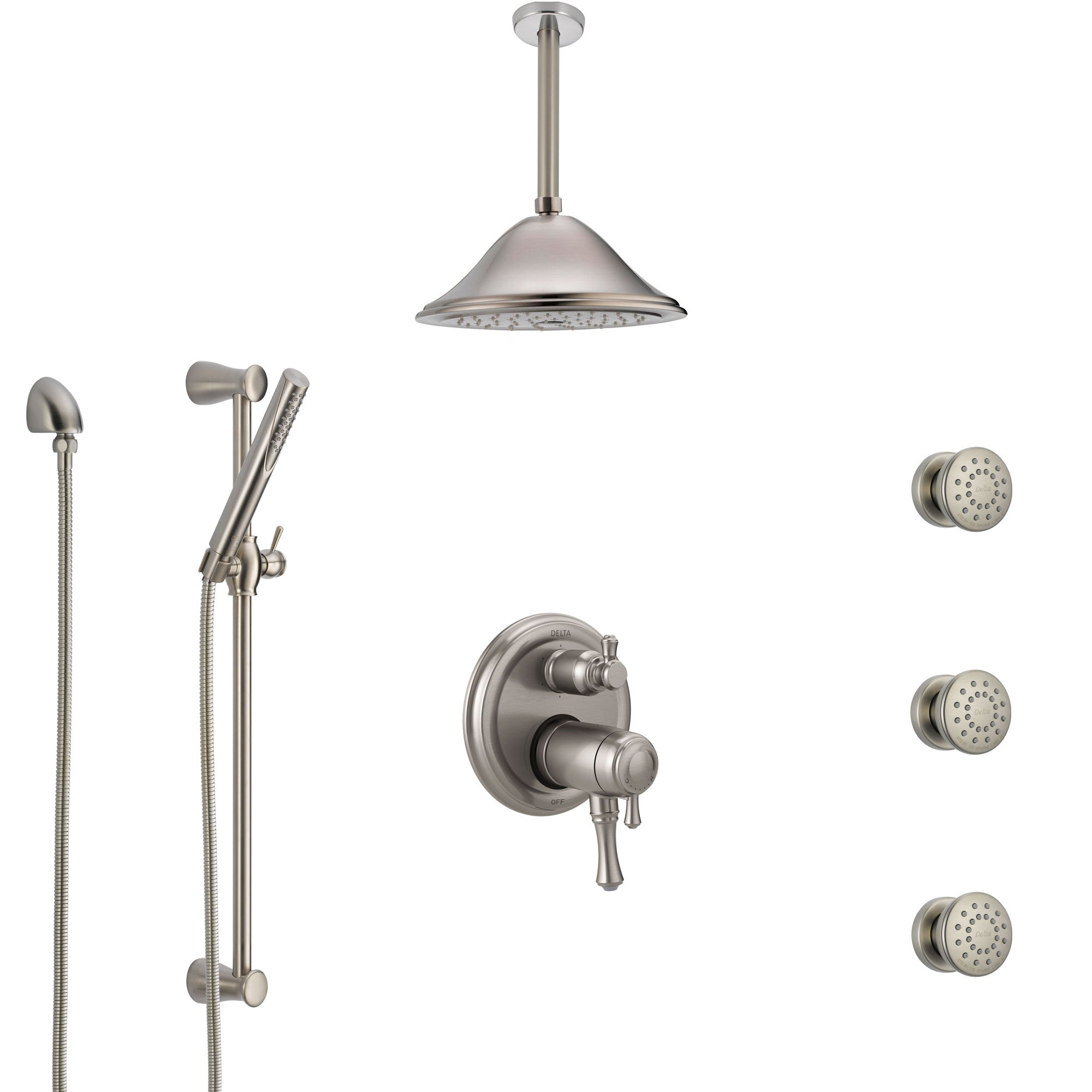 Delta Cassidy Dual Thermostatic Control Stainless Steel Finish Shower System, Ceiling Showerhead, 3 Body Jets, Hand Spray SS27T997SS5