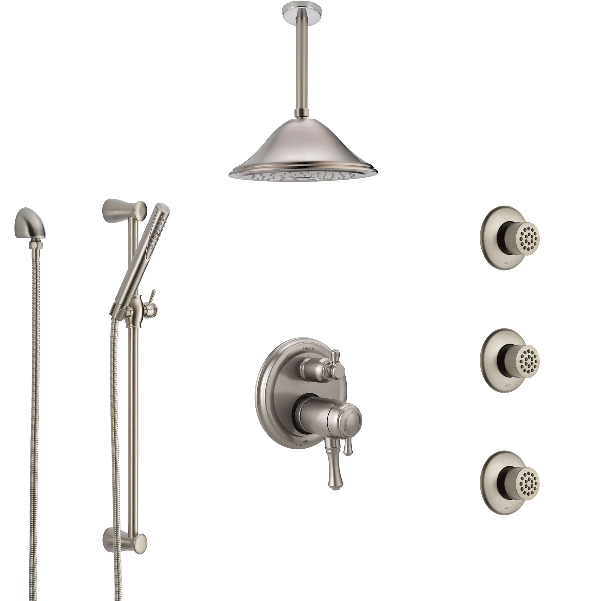Delta Cassidy Dual Thermostatic Control Stainless Steel Finish Shower System, Ceiling Showerhead, 3 Body Jets, Hand Spray SS27T997SS6