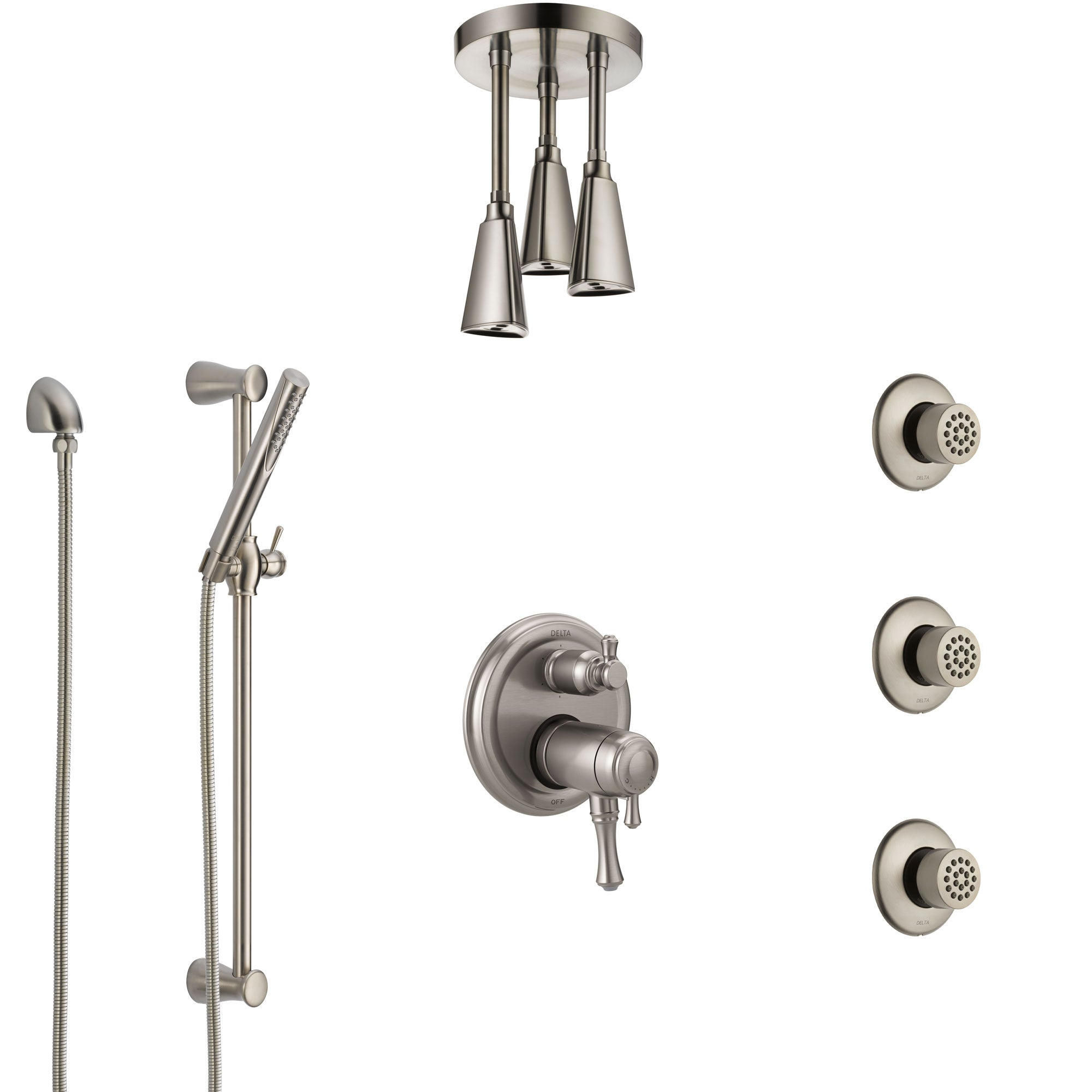 Delta Cassidy Dual Thermostatic Control Stainless Steel Finish Shower System, Ceiling Showerhead, 3 Body Jets, Hand Spray SS27T997SS7