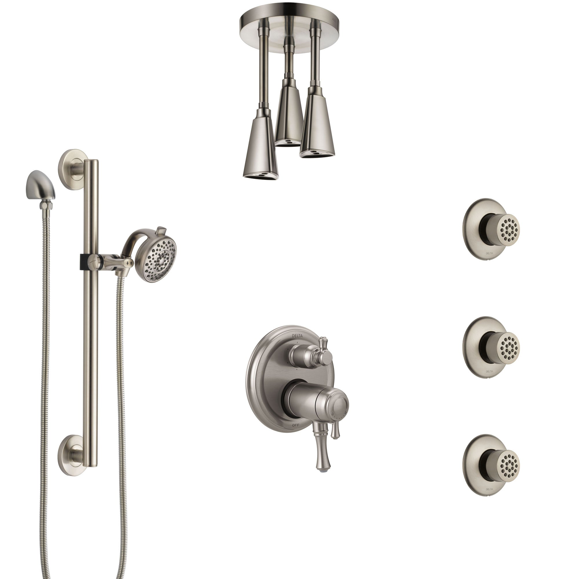 Delta Cassidy Dual Thermostatic Control Stainless Steel Finish Shower System, Ceiling Showerhead, 3 Body Jets, Grab Bar Hand Spray SS27T997SS8