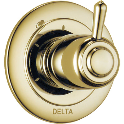 Delta 3-Setting Polished Brass Single Handle Shower Diverter with Valve D176V