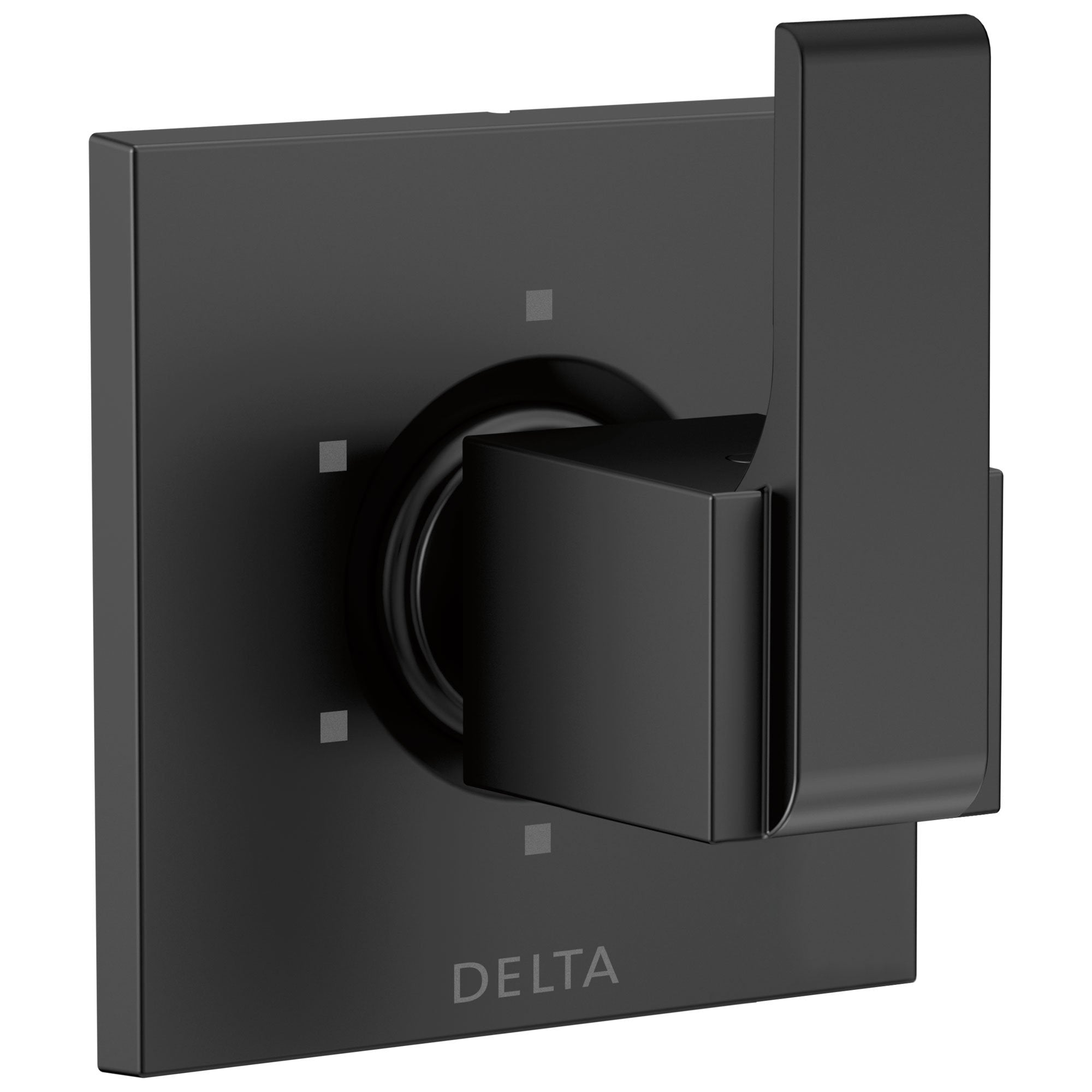 Delta Ara Collection Matte Black Finish Modern Square Lever Handle 6-Setting 3-Port Shower Diverter Includes Rough-in Valve D2548V