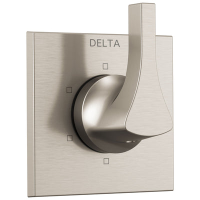 Delta Zura Collection Stainless Steel Finish 6-Setting 3-Port Modern Shower Diverter Includes Rough-in Valve D2050V