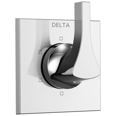 Delta Zura Collection Chrome Finish 6-Setting 3-Port Modern Shower Diverter Includes Rough-in Valve D2052V