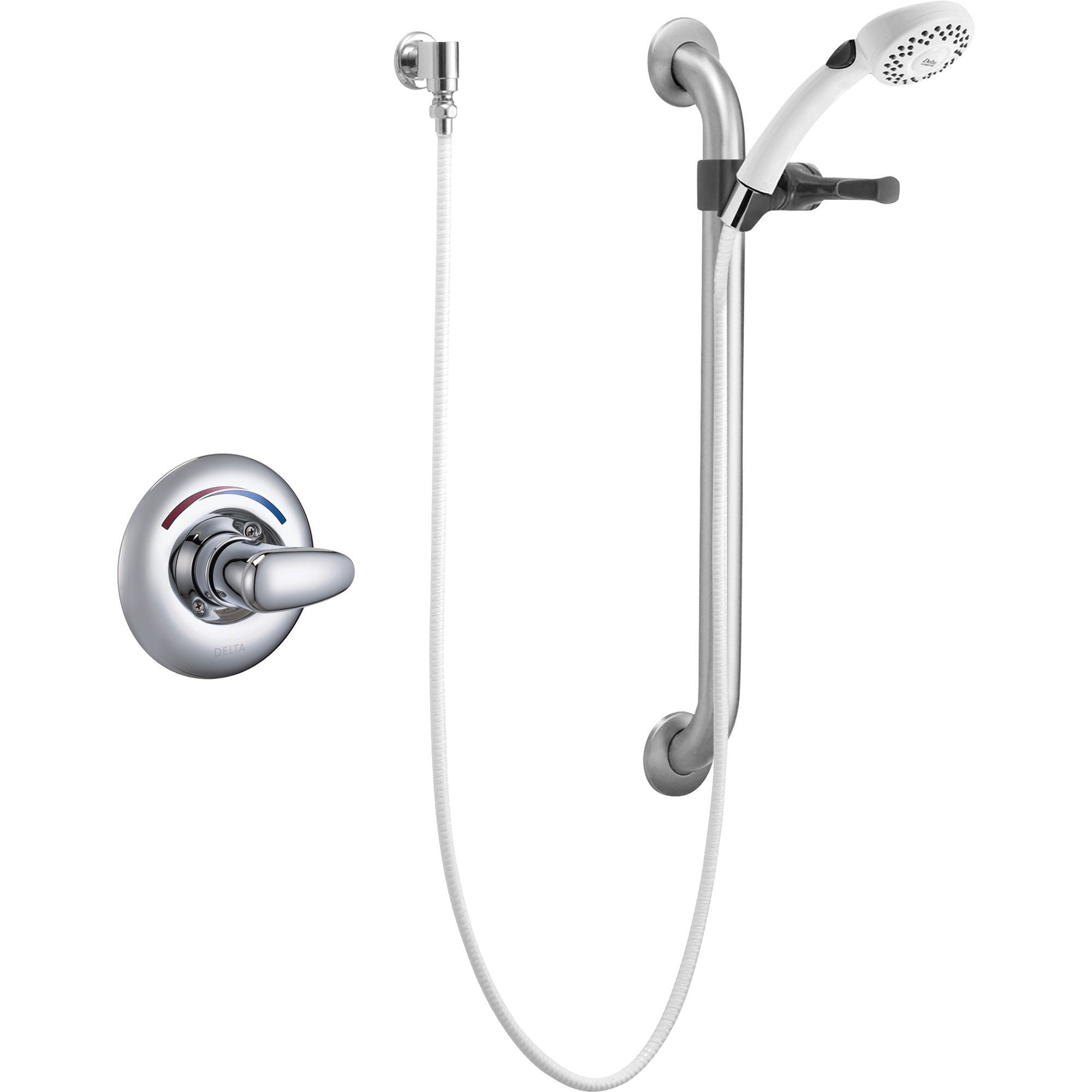 Delta Core Chrome Shower with Handheld Shower and Grab Bar includes Valve D971V