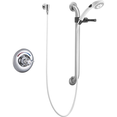 Delta Core Chrome Shower with Handheld Spray and Grab Bar Includes Valve D961V