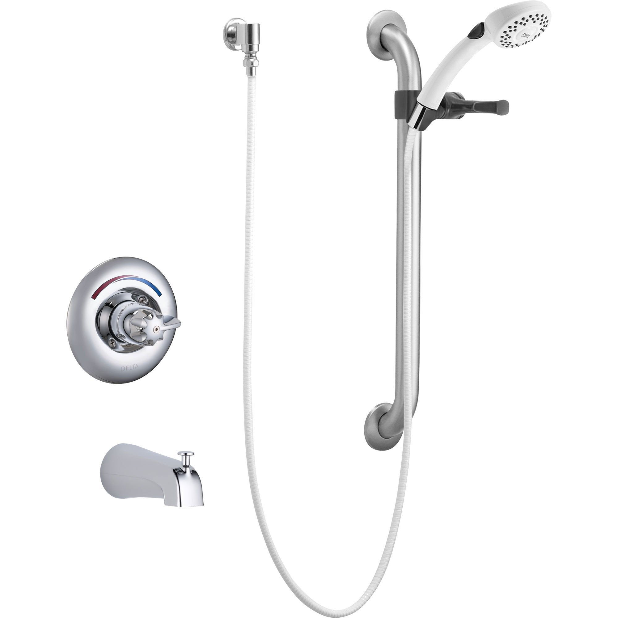 Delta Core Chrome Tub Only Faucet W/ Hand Shower U0026 Grab Bar Includes Valve  D962V
