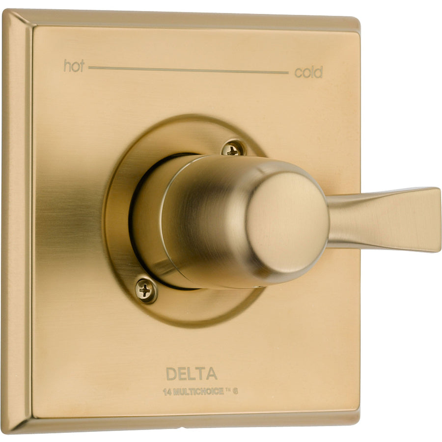 delta dryden champagne bronze single handle shower control includes valve d050v