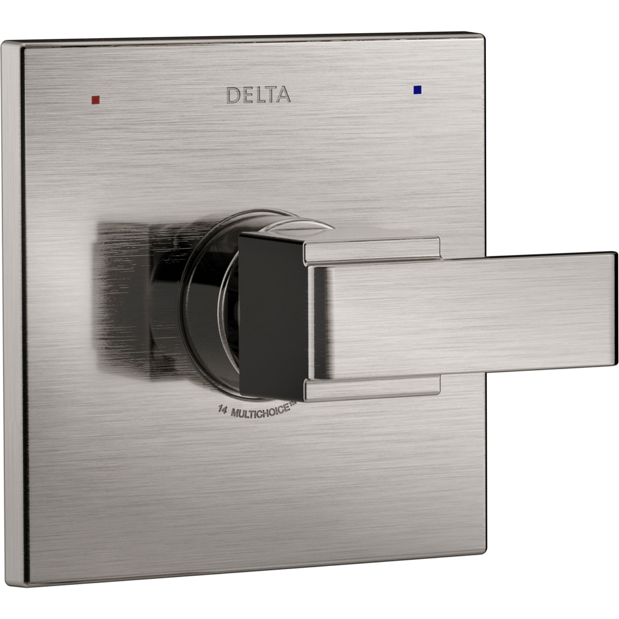 Delta Ara Modern Monitor 14 Series Stainless Steel Finish Square Single Handle Pressure Balanced Shower Faucet Control INCLUDES Rough-in Valve with Stops D1253V