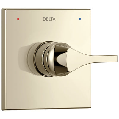 Delta Zura Collection Polished Nickel Monitor 14 Series Single Handle Square Shower Faucet Control Handle Includes Rough-in Valve with Stops D2041V